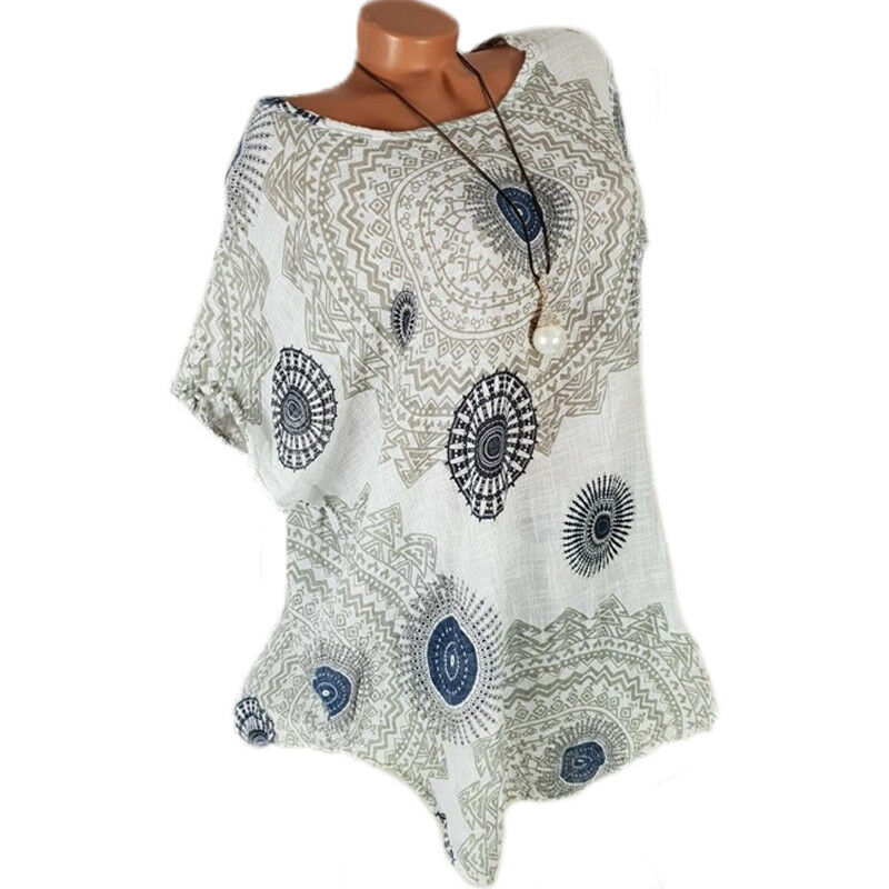 Plus Size Womens Mandala Shirt Kaftan Tops Short Sleeve Blouse Gypsy T-Shirt AU 6
