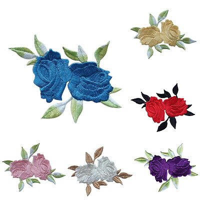Rose Flower Leaves Embroidery Iron On Applique Patch  abordada apliques xc 5