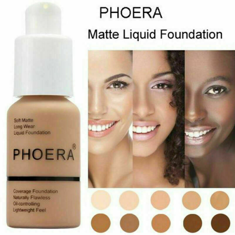 PHOERA Soft Matte Full Coverage Liquid Foundation Concealer Long Lasting Hot 2
