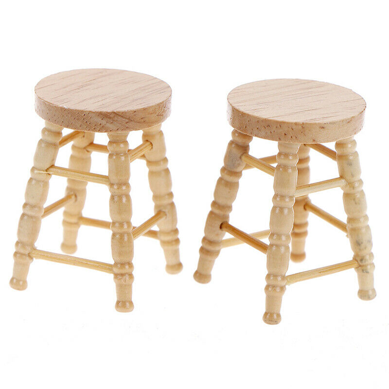 1/12 Dollhouse miniature wooden stool chair furniture accessories.decoration BF 2