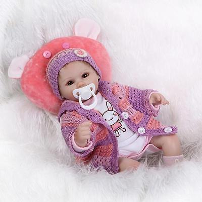 """18"""" Handmade Lifelike Reborn Doll Silicone Baby Girl Doll Vinyl Newborn Boy Doll 3"""