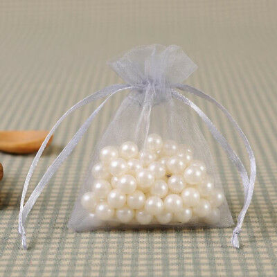 20 50X Small White Organza Bags Wedding Favours Pouches Net Jewellery Bag 12