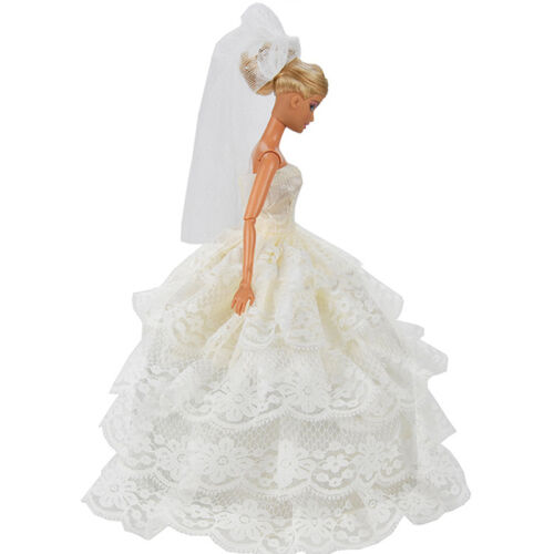 Handmade White Princess Wedding Dress Gown With Veil For 29cm Doll. New.