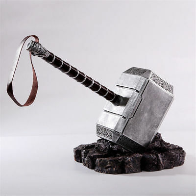 1:1 THE Avengers Full Solid Thor Hammer /Stand Base Replica Cosplay Prop Mjolnir 3