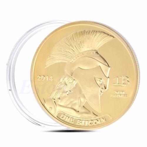 Gold Plated Titan Bitcoin Commemorative Coin BTC Collectible Collection Physica 7