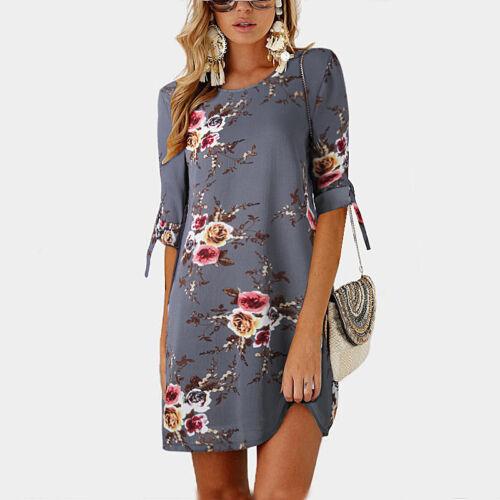 Women Floral Printed Long Tops Blouse Summer Beach Tunic Dress Plus Size 6-22 6