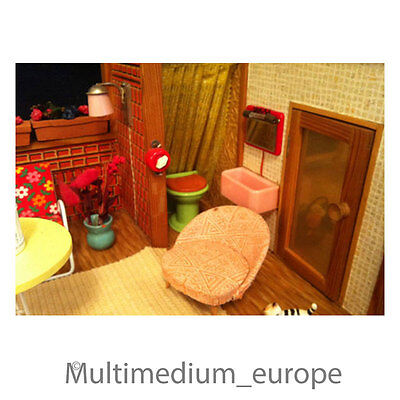 puppenhaus 50er jahre komplette einrichtung mit 2 figuren dollhouse rarit t eur 400 00. Black Bedroom Furniture Sets. Home Design Ideas
