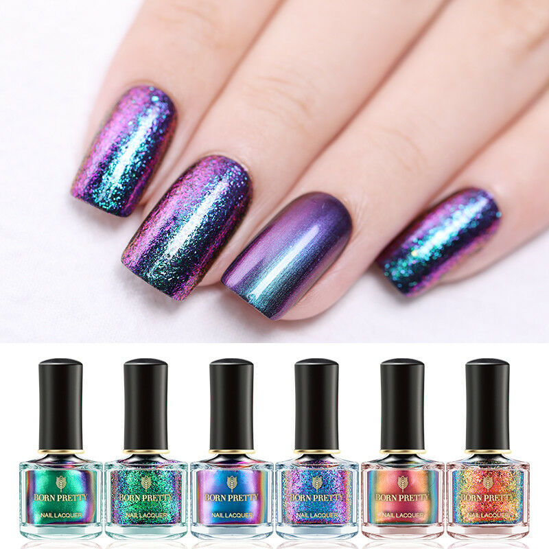 BORN PRETTY 6ml Magic Nail Polish Chameleon Glitter Holographic Nail Art Varnish 6