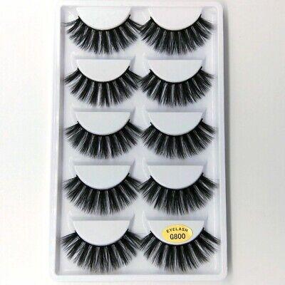 💙NEW 5 Pair 3D Mink False Eyelashes Wispy Cross Long Thick Soft Fake Eye Lashes 9