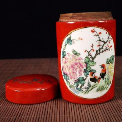 Chinese old Handmade painting red flowers and birds porcelain Tea caddy pot 6
