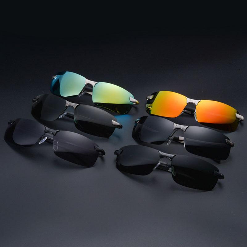 Mens Pro lunettes de soleil polarisées police métal demi cadre lunettes de solei 11