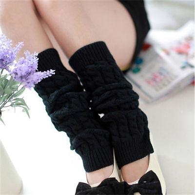 Women Ladies Winter Warm Leg Warmers Cable Knit Knitted Socks Long Crochet A1U2