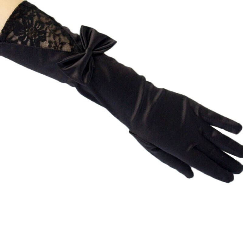 Women Black Lace Patchwork Satin Gloves Bowknot Sexy Clubwear Party Dance G RAS 4