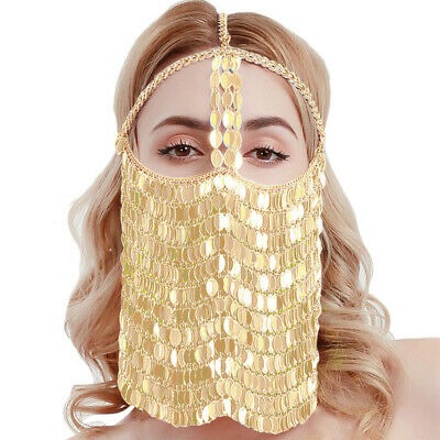 Fetish Colorful Leaves Belly Dance Face Mask BDSM Veil Mask Indian Head Chain 2