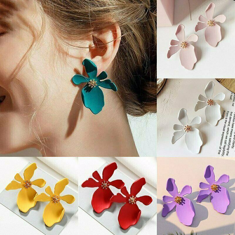 Fashion Boho Painting Big Flowers Ear Stud Earrings Women Charm Jewelry Gifts 3