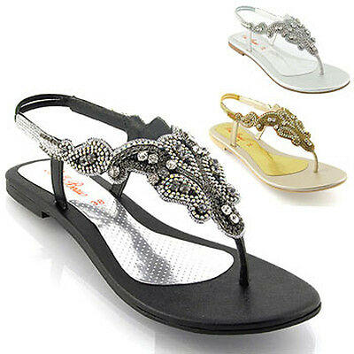 5941281a9c93 1 of 2 New Womens Flat Diamante Toe Post Ladies Sparkly Dressy Party  Sandals Size 3-8