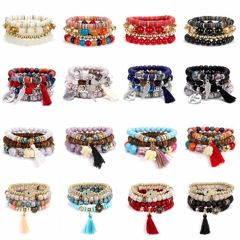 4Pcs I Love You Multilayer Natural Stone Crystal Bangle Beaded Bracelet Jewelry 2