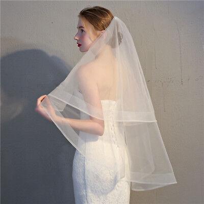 "Horsehair Veil Wedding 2 Tiers Fingertip Length Blusher Veil  2/"" Chic Trims Cute"