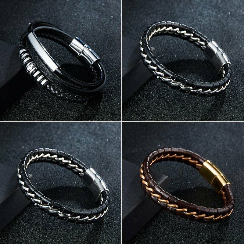 Punk Men's Leather Band Bracelet Watch Buckle Metal Magnetic Wristband Bangle 3