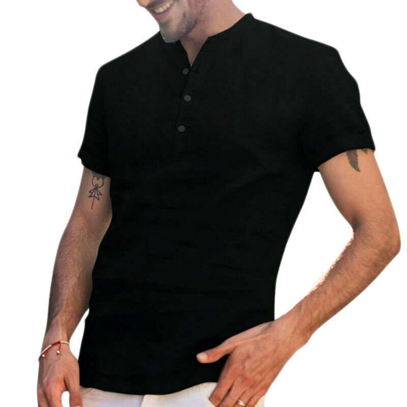 Mens Standing Collar Short Sleeve Soft Solid Tops Summer Beach Holiday T Shirts 6