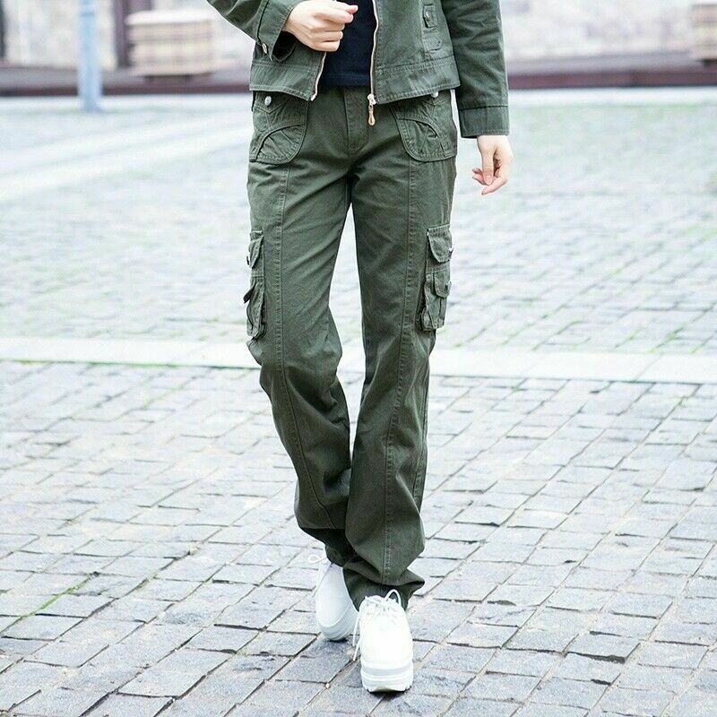 Lady Cargo Trousers Combat Pants Pockets Military Army Slim Straight Leg Classic 5