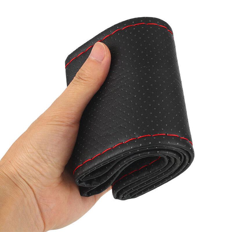 Coprivolante per auto in pelle nera e rossa fai da te 38 cm con ago e filo BHQ 5