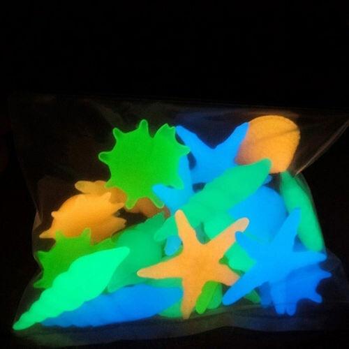 10Pcs Galet Pierre Cailloux Brillant Lumineux Fluorescent Jardin Aquarium Décor 3