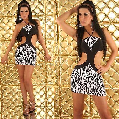 SEXY mini ABITO vestito bianco/nero ZEBRATO tag. unica 38-40-42  fashion GLAMOUR 3 • EUR 42,99