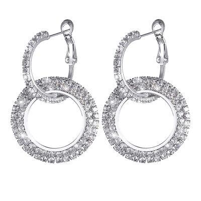 925 Silver Rose Gold Crystal Round Hoop Earrings Womens Jewellery Party Wedding 5