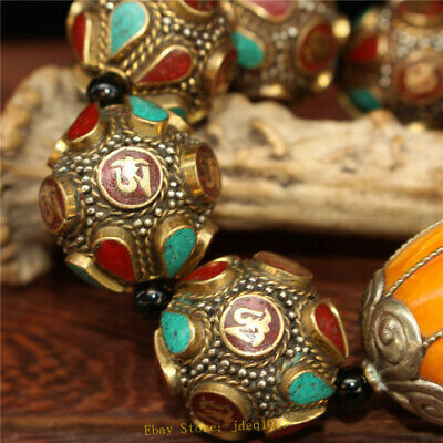 """4.72"""" Chinese Exquisite pure copper Turquoise Beeswax Handmade beads Bracelet 7"""