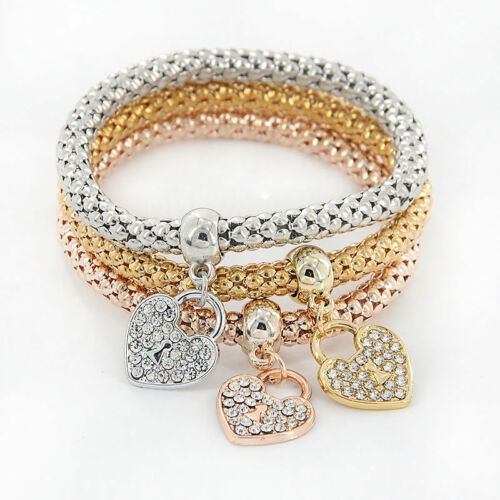 Fashion Women 3Pcs Gold Silver Rose Gold Bracelets Set Rhinestone Bangle Jewelry 5
