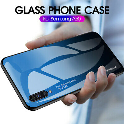 For Samsung Galaxy A50 A40 A20e A70 Gradient Tempered Glass Hard Back Case Cover 2