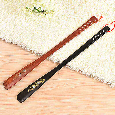 Flexibler Langer Handgriff Schuhlöffel Schuh Horn Aid Stick Holz 55 Cm OX 3