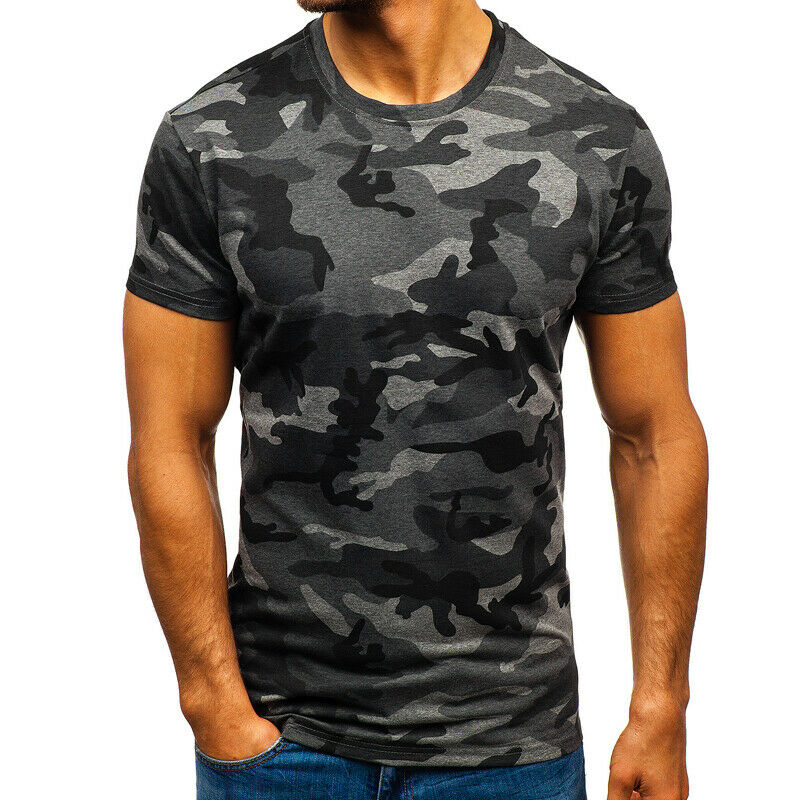 Mens City Camouflage Tactical Military Short Sleeve Army Camo T-Shirt Blouse Top 11