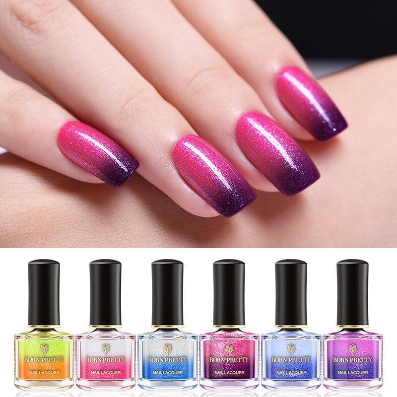 BORN PRETTY Color Changing Nail Polish Glitter Thermal Nails Varnish 19 Colors 6