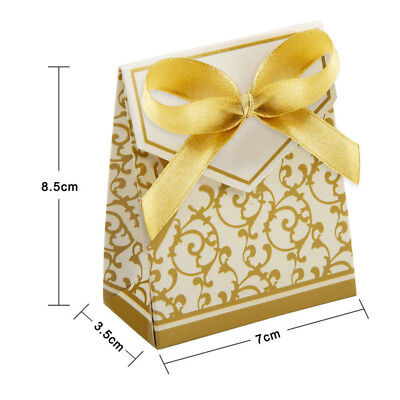 50/100pcs Wedding Favour Candy Boxes Bags With Ribbon Sweet Cake Gift Party Favo 9