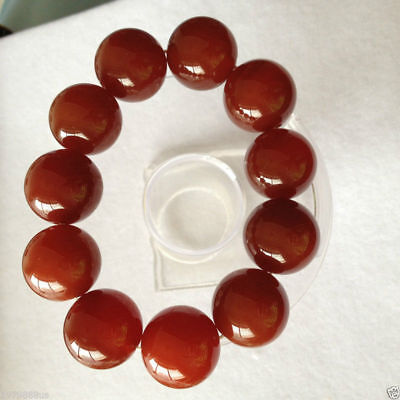 100% pure natural red jade jade bead bracelet 20mm 5