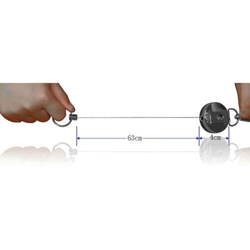 2PCS Heavy Duty Retractable Metal Reel Chain ID Holder Badge Key Ring KeyChain 6
