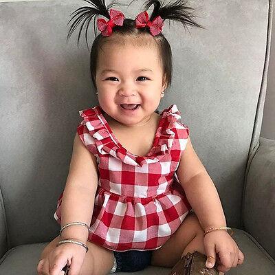 USA Summer Baby Girl Clothes 3Pcs Outfits Set Dress Tops+Denim Pants+Headband