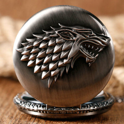 Game of Thrones Stark House Crest Wolf Cool Quartz Pocket Watches Necklace Chain 4