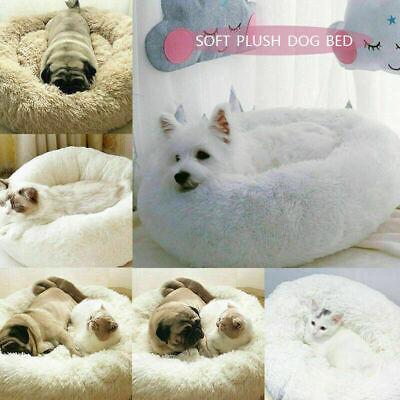 US Fur Donut Cuddler Pet Calming Bed Dog Beds Soft Warmer Medium Small Dogs Cats 12