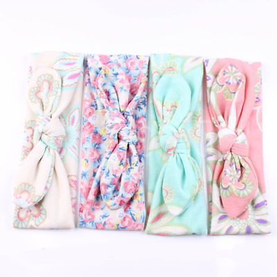 Baby Girls Floral Flower Bow Hairband Turban Knot Rabbit Headband Accessories 2