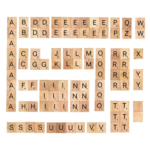 100 Wood Scrabble Tiles Letter Alphabet Scrabbles Number English Word Kids Learn 3