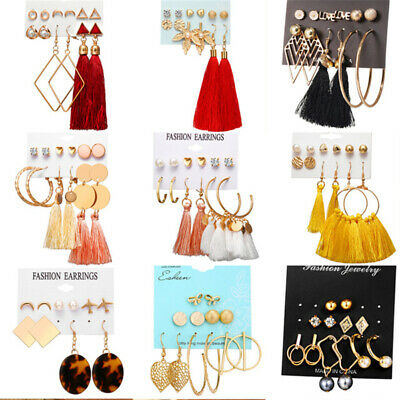 15Pairs Korean Style Earrings Set Tassel Crystal Ear Stud Dangle Hook Chic Women 2