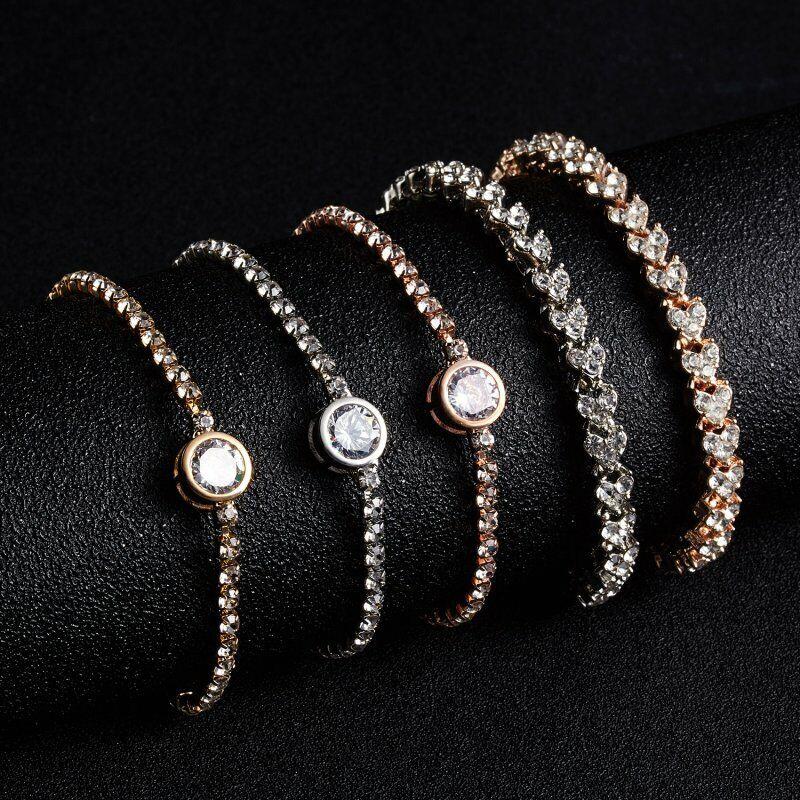 CZ Crystal Silver Rose Gold Slider Bracelet Adjustable Bangle Women Card Jewelry 5