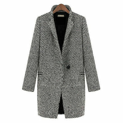 Womens Lapel Wool Cashmere Coat Trench Jacket Long Parka Overcoat Outwear WS010 7