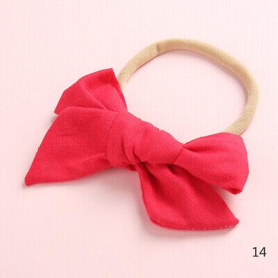 Baby Kids Toddler Soft Cotton Bow Tie Ring Nylon Headband Girls Hair Accessories 12