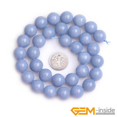 """Natural Blue Angelite Stone Round Loose Beads for Jewelry 15"""" 6mm 8mm 10mm 12mm 8"""