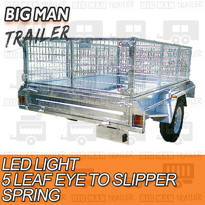7x4 hot dip galvanised box trailer fully weld removable 600mm cage single tipper 4