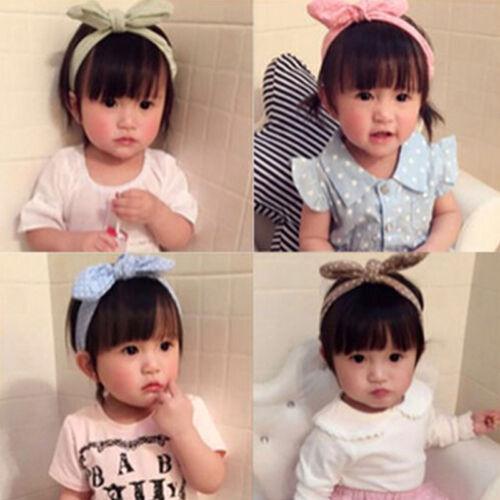 Girls Baby Bunny Bow Hairband Headband Stretch Turban Knot Head Wrap For Kids 6